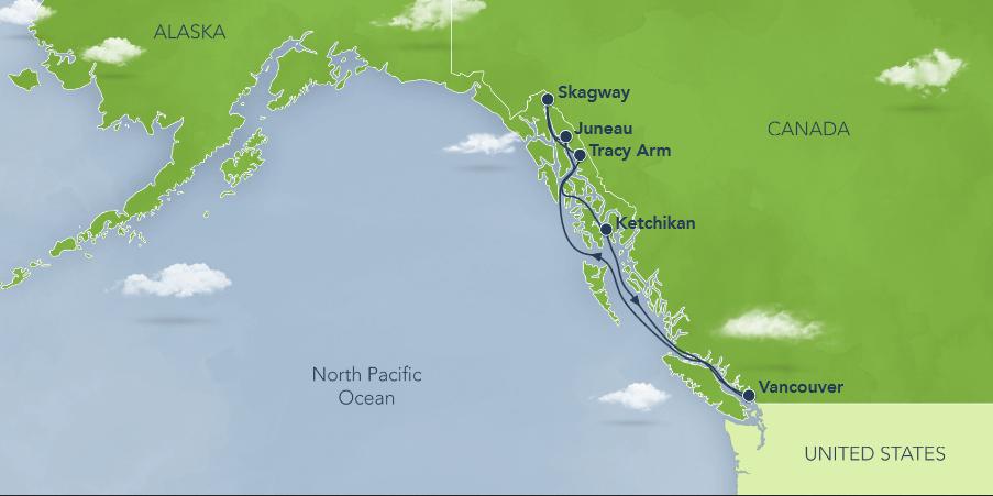 アラスカクルーズ航路