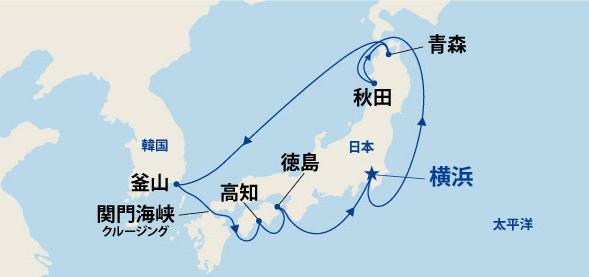 日本の夏!竿燈・ねぶた・よさこい・阿波おどりに沸く周遊クルーズ・韓国 11日間