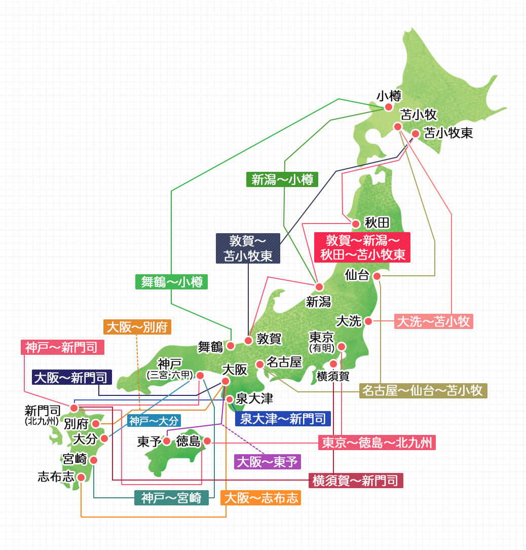 日本フェリー航路一覧