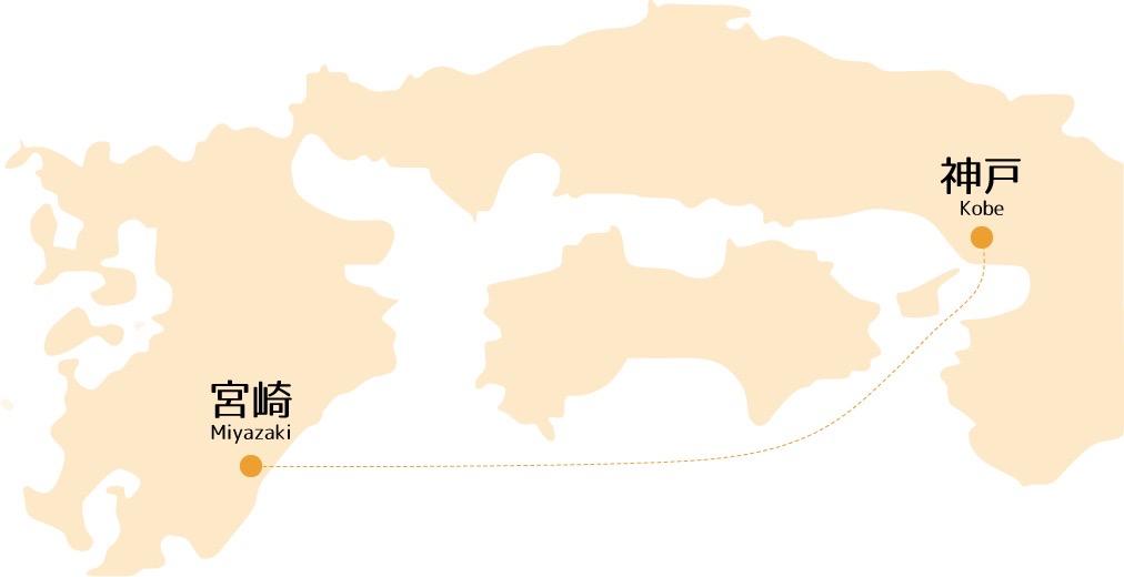 宮崎カーフェリー航路マップ